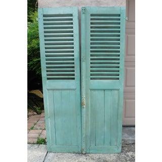 Circa 1890 French Green Aqua Shutters - A Pair Preview