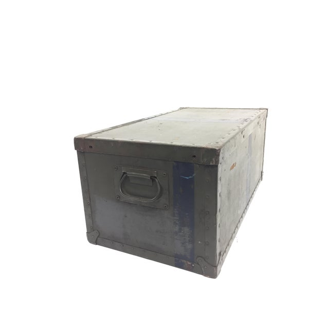 Industrial Vintage Industrial Drab Green Military Chest W Removable Lid For Sale - Image 3 of 12