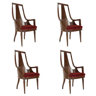 Set of Four MCM Tall Back Walnut Dining Armchairs For Sale