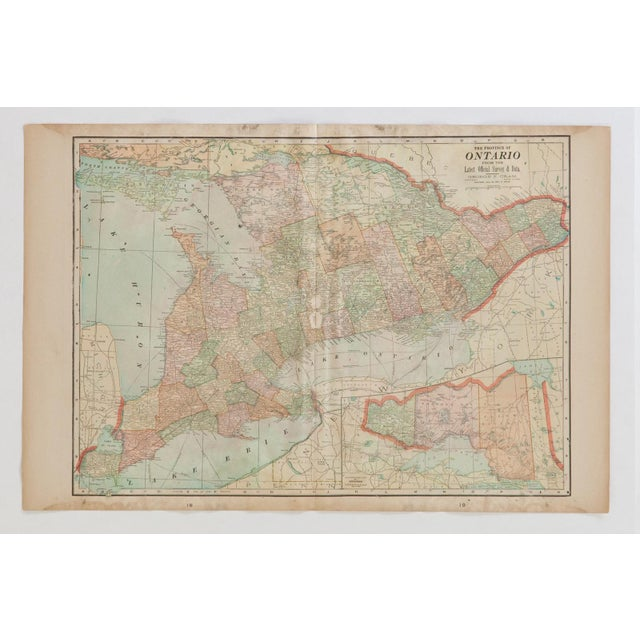 1900s Cram's 1907 Map of Ontario For Sale - Image 5 of 8