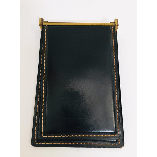 Mid 20th Century Vintage Desk Set, Black Leather and Brass Letter Rack, Picture Frame and Notepad For Sale - Image 5 of 13