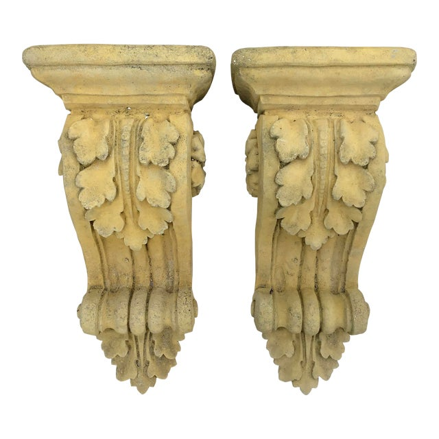 French Limestone Wall Brackets - a Pair For Sale