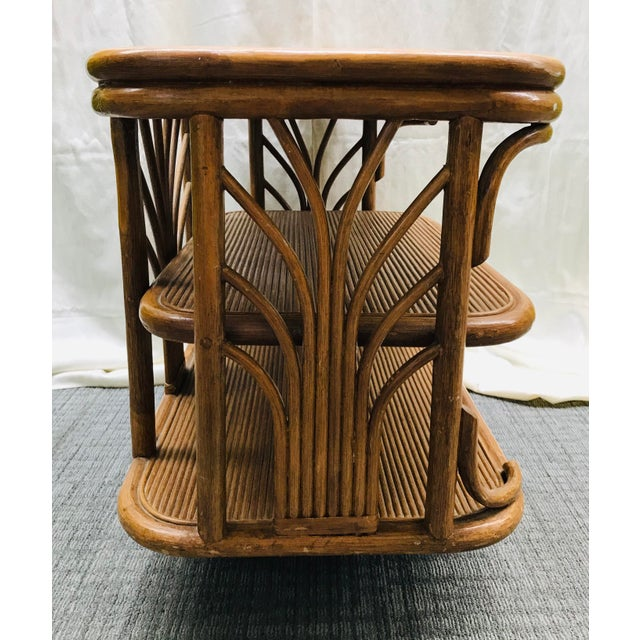 Great split bamboo/rattan swivel console table or end table in a Paul Frankl Style from Leader's Casual Furniture. Vintage...