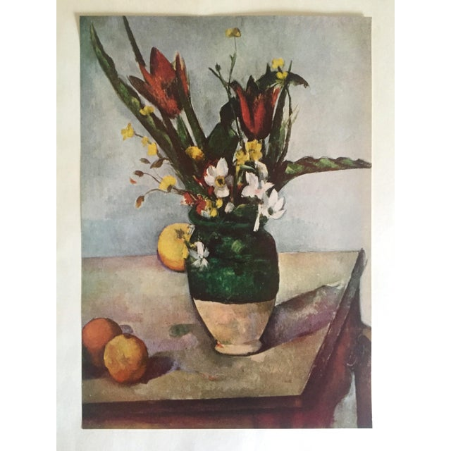 "Lithograph Paul Cezanne Rare Vintage 1952 Post Impressionist Authentic Lithograph Print "" Tulips and Apples "" 1890 For Sale - Image 7 of 7"