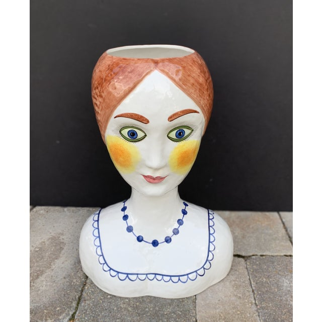 1960s Vintage Italian Ceramic Head Vase Planter For Sale In Chicago - Image 6 of 13