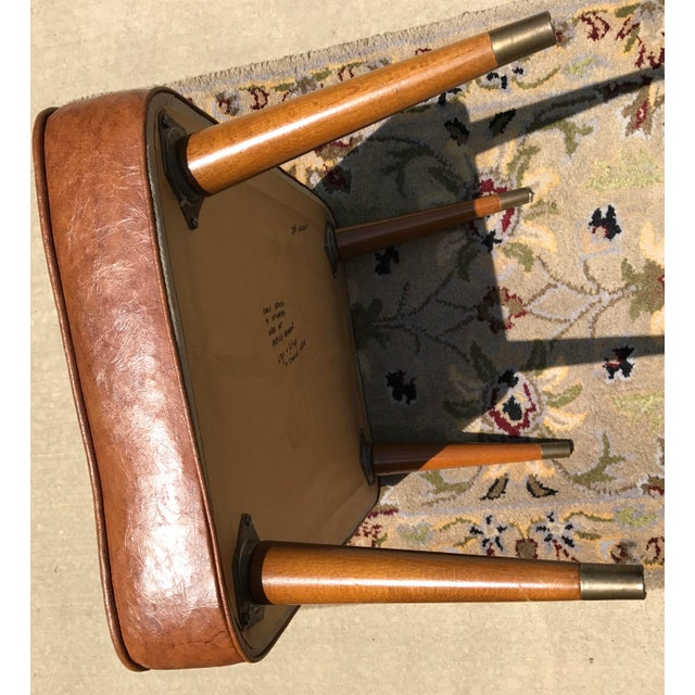 Mid-Century Brown Naugahyde Hassock Footstool - Image 11 of 11