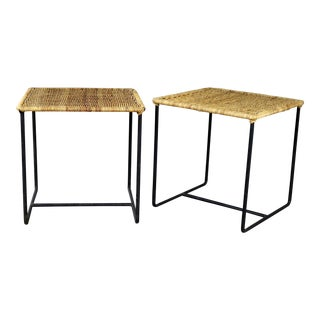 Caif-Asia Style Wrought Iron and Rattan Side Tables - A Pair For Sale