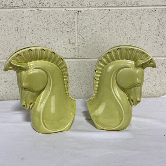 Chartreuse Ceramic Trojan Horse Head Vases - a Pair For Sale - Image 12 of 12