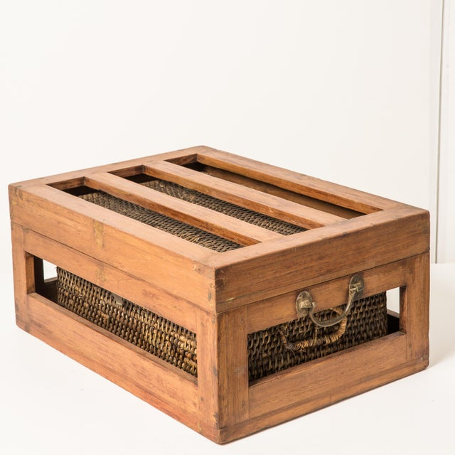 Antique Rattan & Teak Picnic Basket - Image 2 of 7