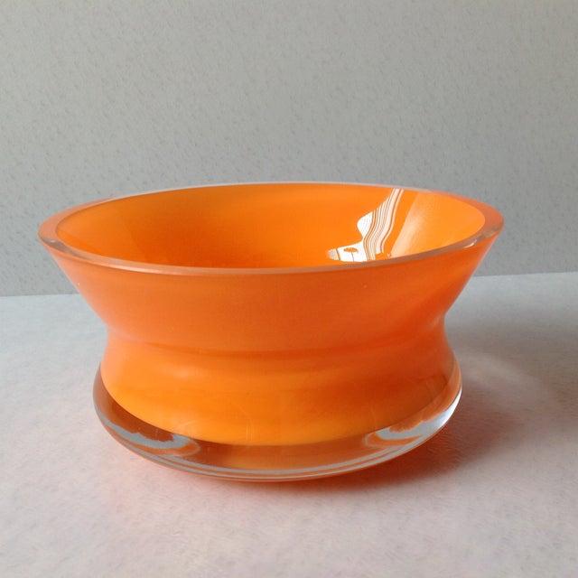 Bright Orange Czech Glass Console Bowl - Image 5 of 5