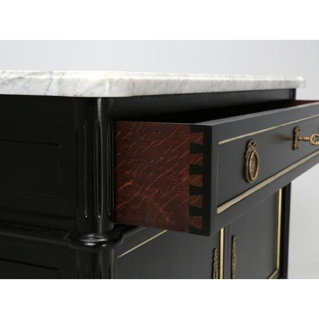 Gold Petite French Louis XVI Ebonized Buffet For Sale - Image 8 of 11