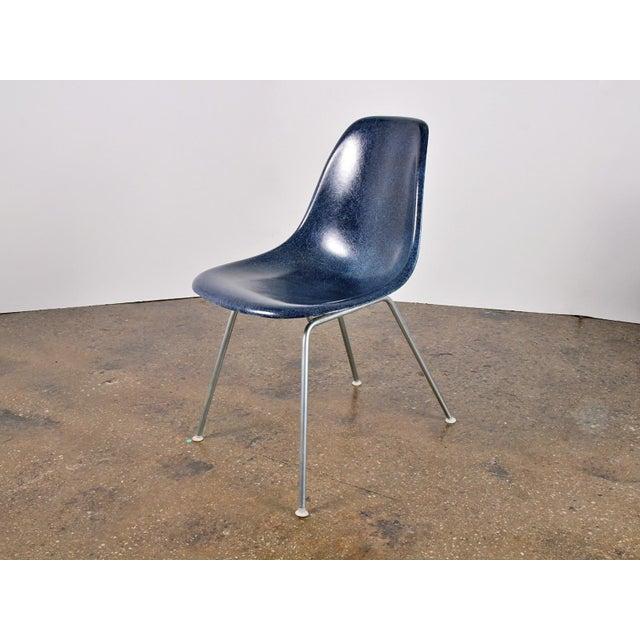 Herman Miller Vintage Navy Blue Eames Shell Chairs for Herman Miller on H-Base For Sale - Image 4 of 4