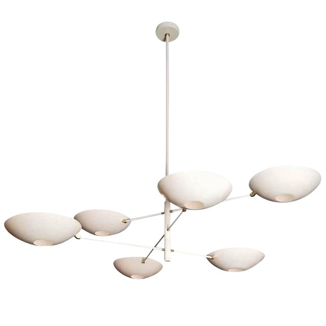 Large 'Counterbalance' Chandelier in White Enamel + Brass by Blueprint Lighting For Sale