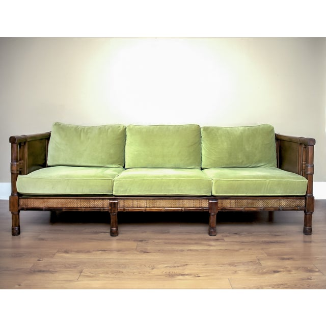 Incredible Vintage Broyhill Hollywood Regency Cane Sofa Dailytribune Chair Design For Home Dailytribuneorg