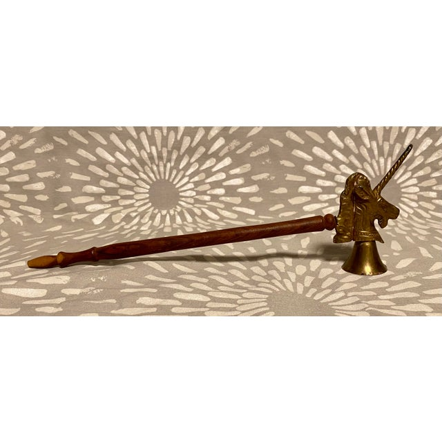 Figurative 1990s Vintage Brass & Wood Unicorn Candle Snuffer For Sale - Image 3 of 8