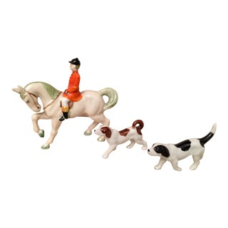Hand-Painted Equestrian Hunting Figurine Set