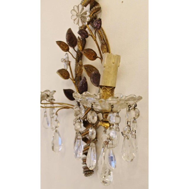 Baroque Pair of Sconces with Pendants, 1940s For Sale - Image 3 of 6