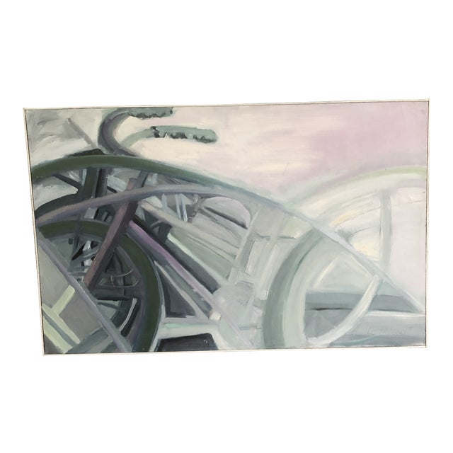 1970s Vintage Abstract Large Bicycle Signed Painting For Sale