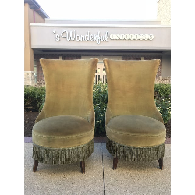 Green 1940s Hollywood Regency Armless Slipper Chairs - a Pair For Sale - Image 8 of 8