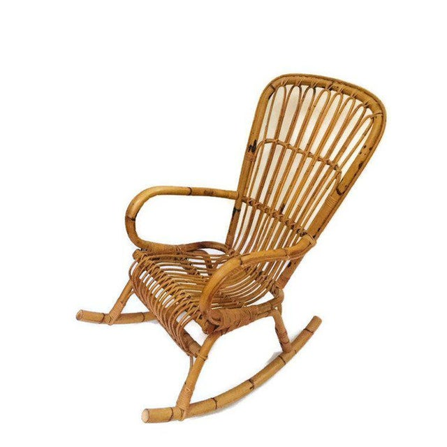Mid Century Sculpted Bamboo Rocking Chair High Back Franco Albini Style Rocker For Sale - Image 11 of 11