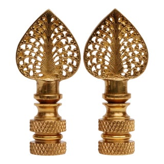 Brass Filigree Finials - a Pair For Sale