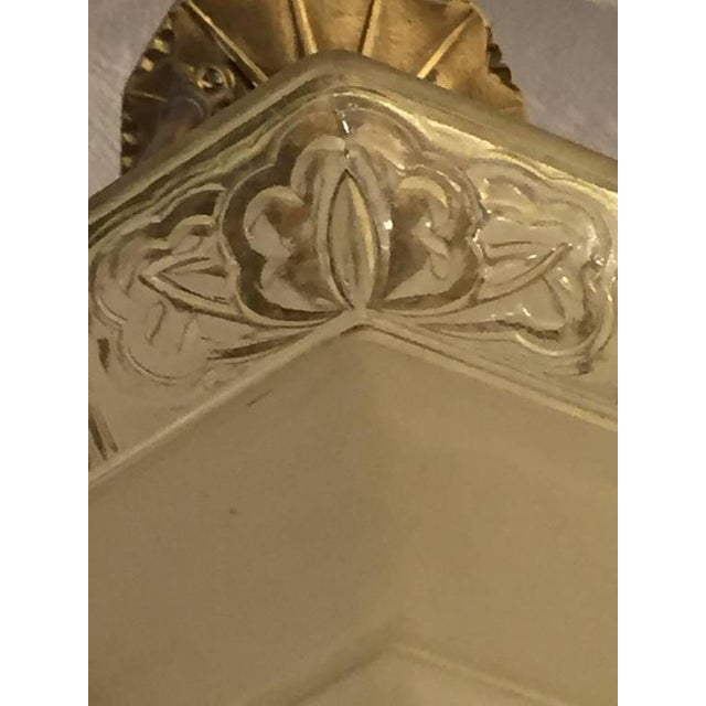 French Art Deco Glass and Brass Chandelier - Image 5 of 8