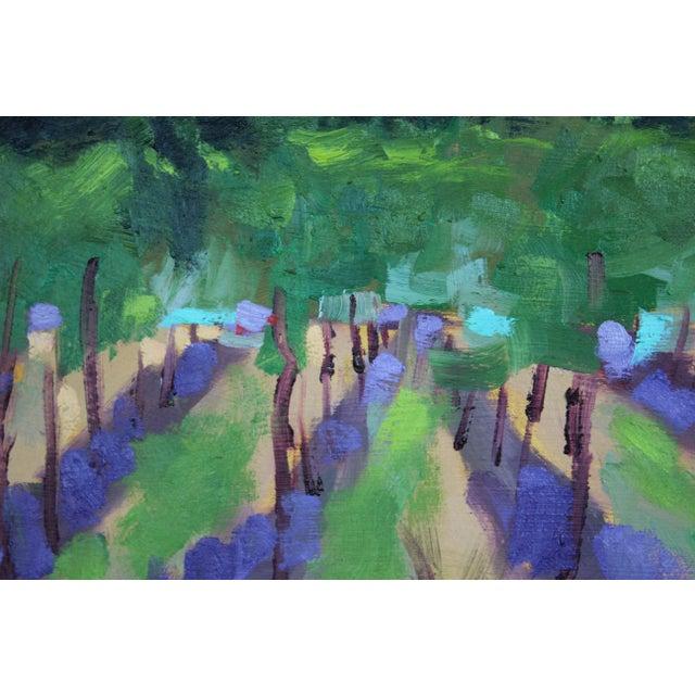 Wood Original Oil Painting Landscape Plein Air, Sonoma Vines For Sale - Image 7 of 12