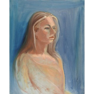 Portrait Painting of Woman on Blue For Sale