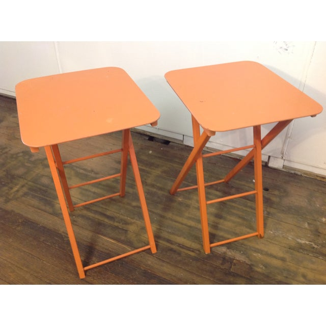 Orange Mid Century Collapsible Side Tables - Pair - Image 2 of 11