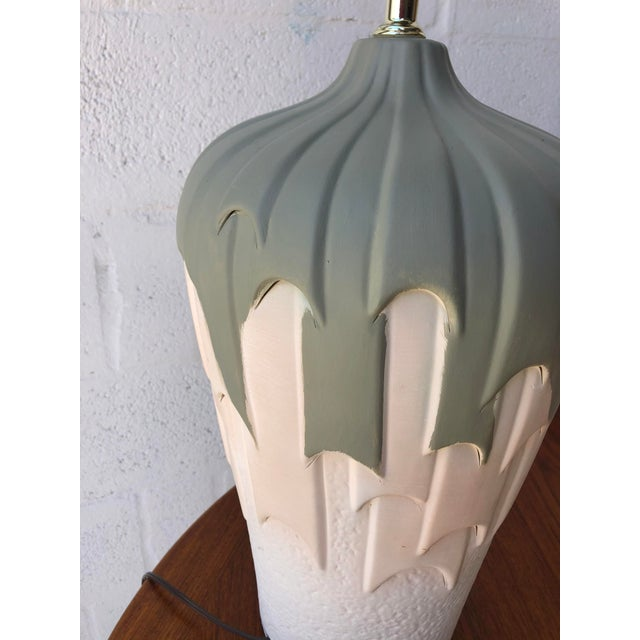 Dove Gray Vintage 1980s Harris Carved Pottery Table Lamps- a Pair For Sale - Image 8 of 11