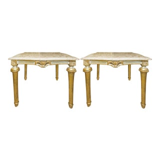 Italian Baroque Marble Top Coffee Tables - A Pair For Sale