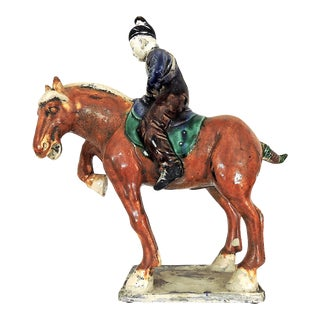 Early 20th Century Chinese T'ang Dynasty Glazed Ceramic Sancai Horse and Rider For Sale