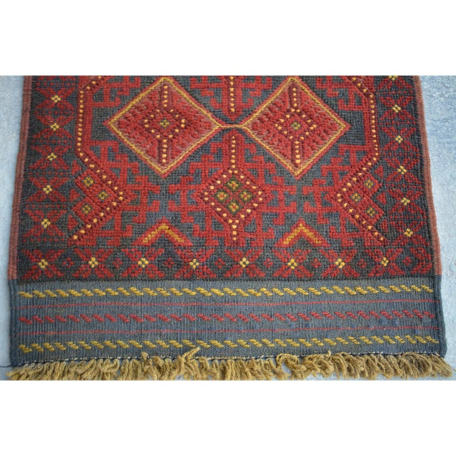 Islamic Turkish Tribal Handmade Brown and Navy Wool Rug Runner For Sale - Image 3 of 6