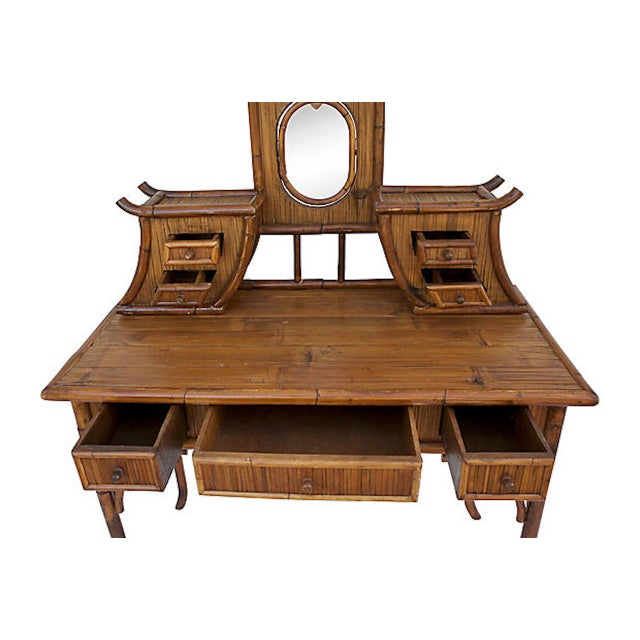 1950s Chinoiserie Rattan Vanity For Sale - Image 5 of 9