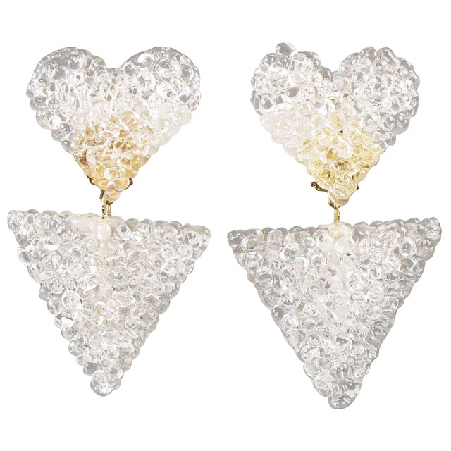 Romantic Dangling Clear Lucite Clip on Earrings With Heart For Sale