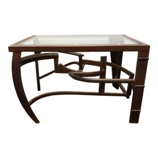 Artisan Crafted Iron and Glass Side Table Post Modern Brutalist For Sale