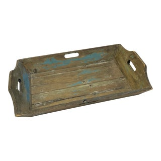 Painted Dutch Wood Serving Bar Tray For Sale