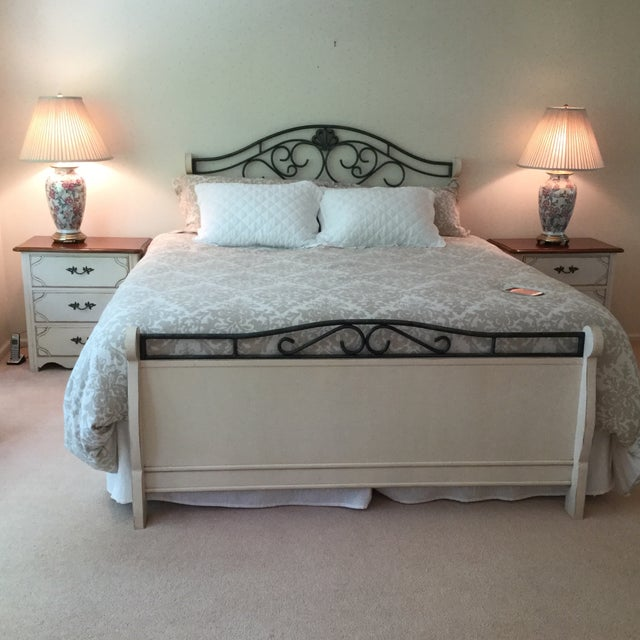 Tan Drexel Heritage French Countryside Queen Bed For Sale - Image 8 of 8