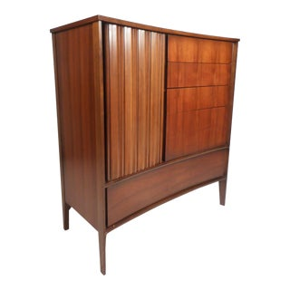 Mid-Century Modern Walnut Curved Front Highboy Dresser For Sale