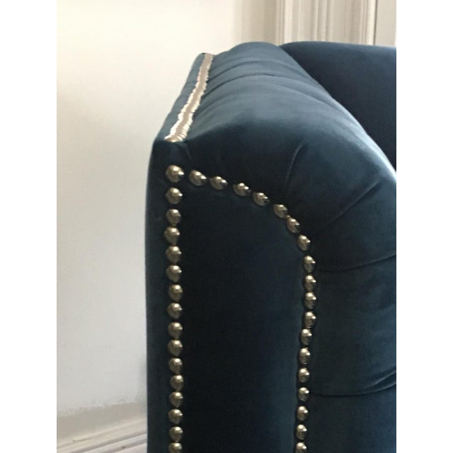 Blue Velvet Pasargard Victorian Sectional - Image 4 of 5