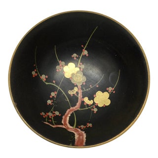 Vintage Japanese Guild Gold Hand Painted Lacquer Bowl For Sale
