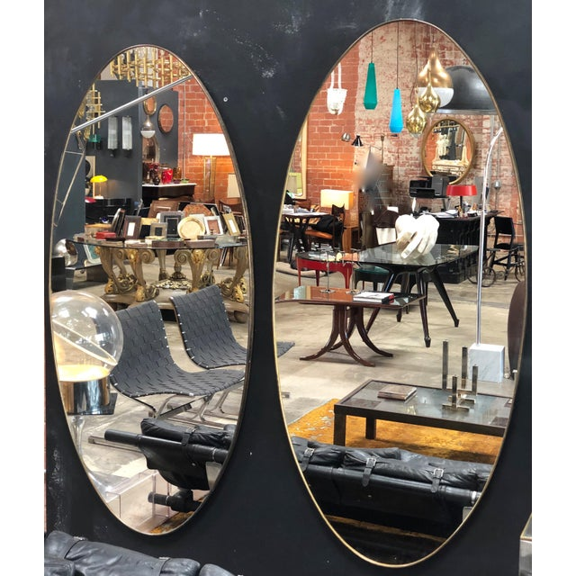 Mid-Century Modern Oversize Oval Wall Mirrors, Italy, Late 1960s - a Pair For Sale - Image 3 of 10