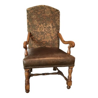 Spanish Revival Arm Chair With Velvet Upholstery and Leather Seat For Sale