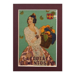 Vintage Spanish Art Deco Mini Poster, La Fruta Es Alimento Sano For Sale