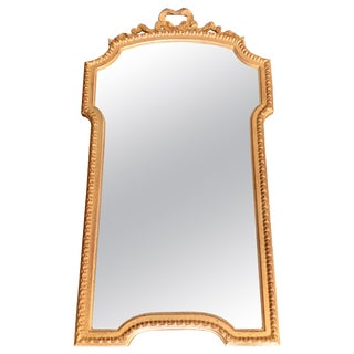 1960s Italian Gilt Scalloped Mirror With Ribbon Motif For Sale