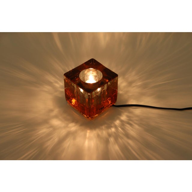 Orange Mid-Century Modern Murano Glass Table Lamp For Sale - Image 9 of 13