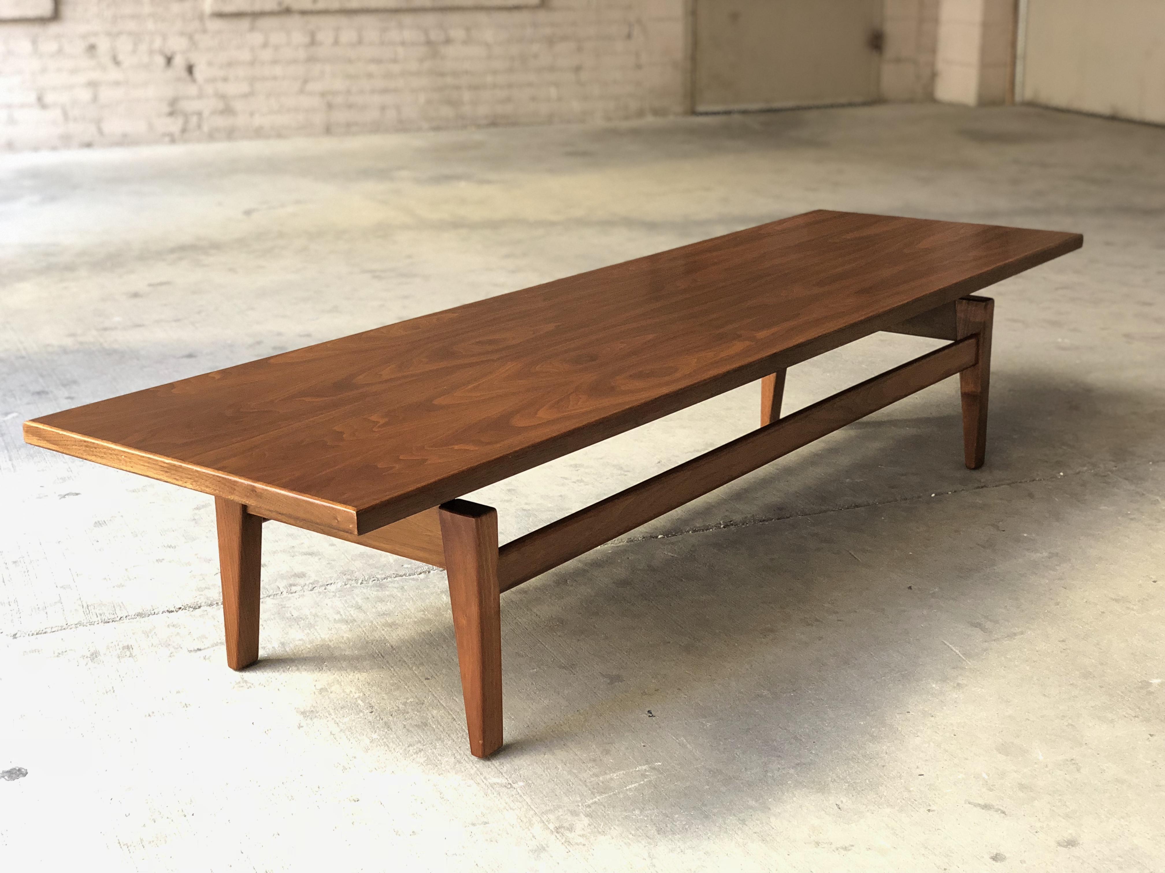 Jens Risom Walnut Floating Top Coffee Table Mid Century Modern