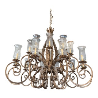 Palace Size Cast Iron Chandelier With Lantern Glass For Sale