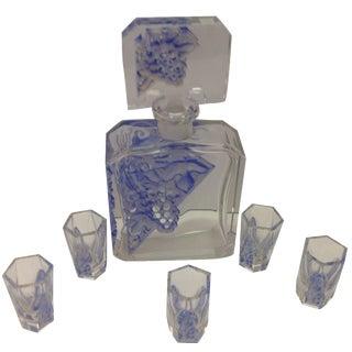 6-Piece Art DeCo Crystal Cordial Decanter Set