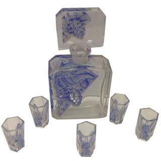 Modernist Karl Palda Style 6-Piece Art DeCo Crystal Cordial Decanter Set For Sale